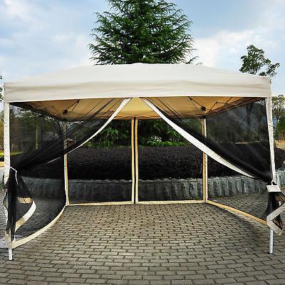 - Outdoor Gazebo Canopy 10'x10' Pop Up Party Tent  Mesh Mosquito Net Patio Tan