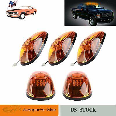 5 Pcs Amber LED Cab Roof Marker Lights Amber Cover For 99-02 Dodge RAM 2500 3500