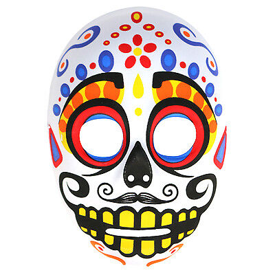 Mens Day Of The Dead Mexican Sugar Skull Halloween Mask. Zombie Costume - White (Day Of The Dead Zombie Halloween Mask)