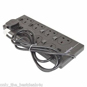 2 4 6 10 Way Gang 2m 5m 10m mains Extension Lead CableTower Surge Protected
