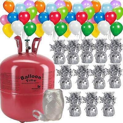 Helium Tank For Balloons (Helium balloon pump Tank + 50 Multi Color balloons + 12 Weights for)