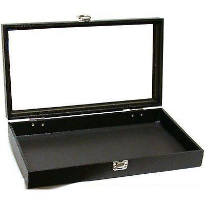 Jewelry Showcase Display Case Glass Top Portable Travel Box Black Best Dealer