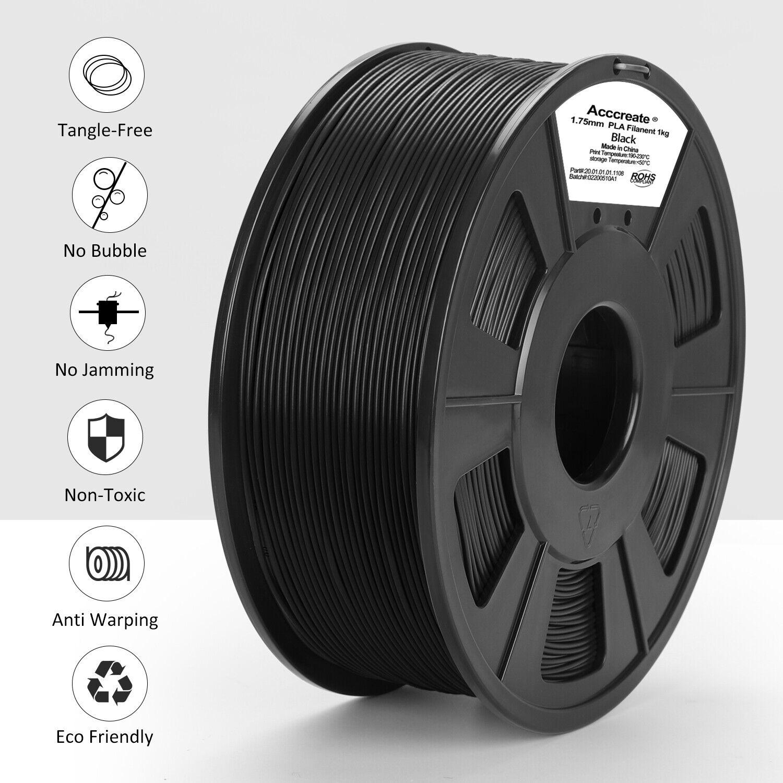 1Kg Schwarz 1.75mm PLA Filament For CR-10S Pro V2 Ender-3 Max 3D Printer Drucker