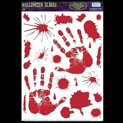 Gothic Horror Prop Dexter Psycho BLOODY HAND PRINTS CLINGS Halloween - Gothic Halloween Decorations