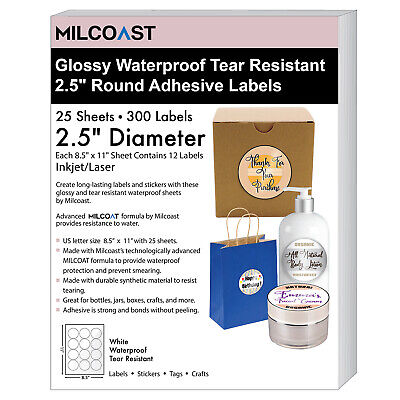 Milcoast Glossy Waterproof Tear Resistant 2.5 Round Circle Labels 300 Labels