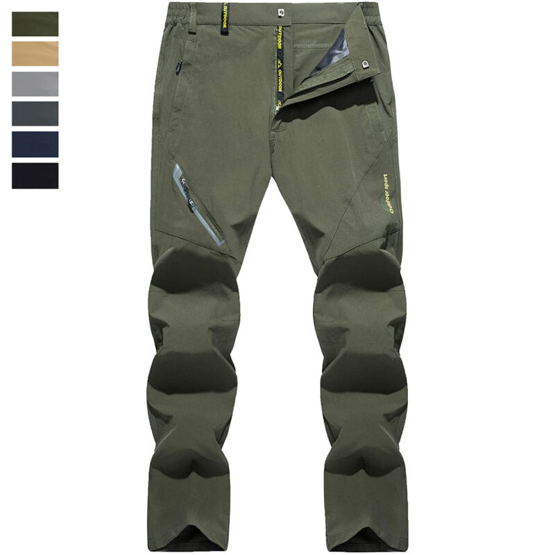 Mens Quick Dry Hiking Pants Outdoor Fishing Camping Cargo Work Tactical Trousers