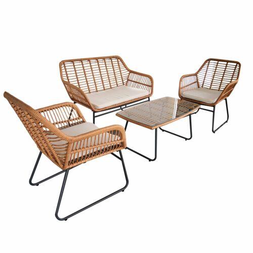 Garden Furniture - 4pc Lounger Set Outdoor Furniture Rattan Wicker Chair Table Garden Patio Balcony