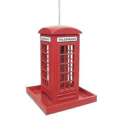 British Phone Box Bird Feeder - Hanging Red Phone Booth Lawn Ornament -