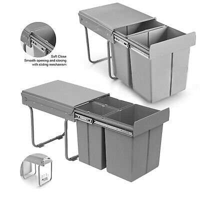 40L Pull Out Integrated Kitchen Cabinet Bin Soft Close Recycling Waste Dust Bins ()