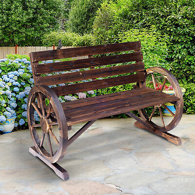 Outsunny Wooden Wagon Wheel Bench Garden Loveseat Rustic Outdoor Park Rustic Wood Benches