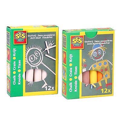 SES 00200/00201 Tafelkreide 12x WEISS und 12x FARBIG Kreide Malkreide staubfrei