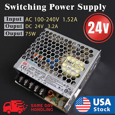 Mean Well Rs-75-24 Ac To Dc Power Supply Single Output 24 Volt 3.2 75w
