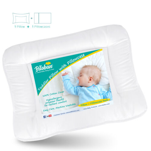 "Baby Toddler Pillow with Cotton Pillowcase Infant Soft Thin Neck Pillow 14""x19"""