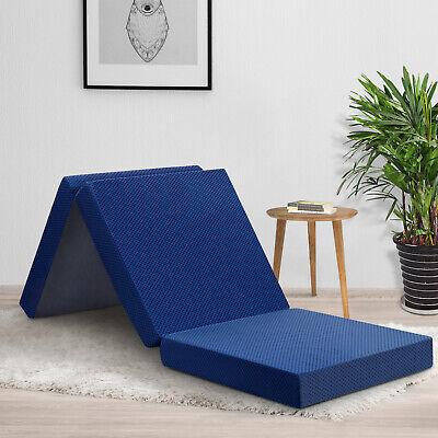 "Memory Foam Mattress 4"" Folding Single Camping Portable Floo"