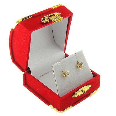 Red Velvet Stud Earring Box Display Jewelry Gift Box Treasure Chest Velour Style (Treasure Chest Gift Box)