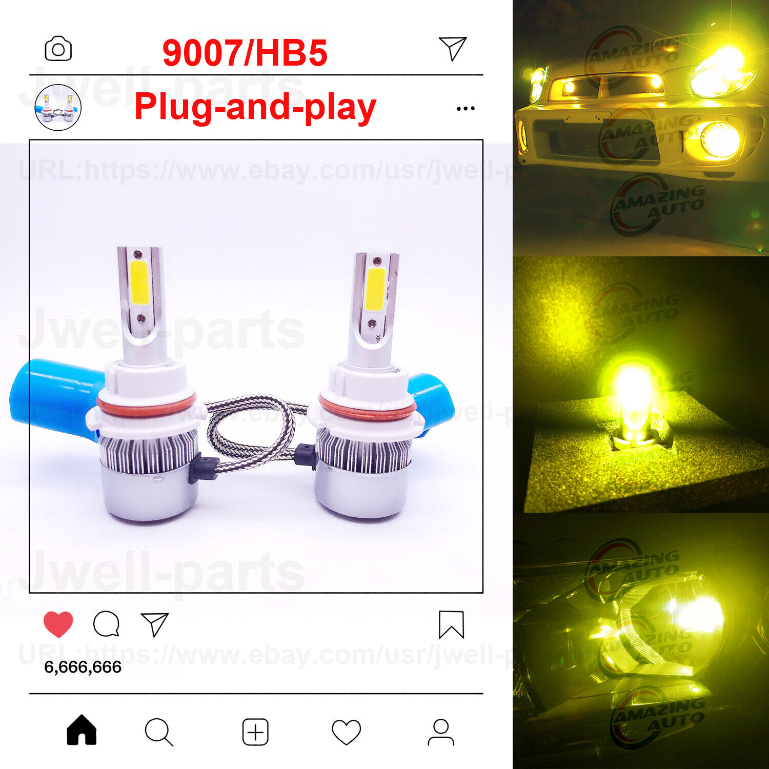 Car Parts - 2020 NEW 9007 HB5 LED Headlights Bulbs Performance Kit 45W 4000LM 3000K Yellow