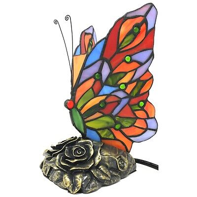 Tiffany Style Stained Glass Butterfly Accent Lamp Night Light Resin Base 2 Bulbs ()