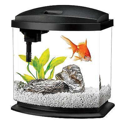 Aquarium Tank Kits LED Lighting Fish Size 2.5 Gallon Aqueon Starter Decor