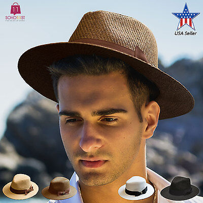 Mens Summer Wide Brim Straw Fedora Hat Indiana Jones Style Panama Hat PMS - Fedora Style Hats