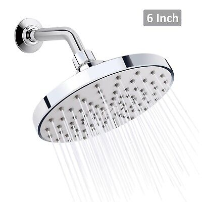 Rainfall Showerhead Finish - 6 Inch Rainfall Fixed Shower Head Chrome Finish High Pressure Wall Mount Round