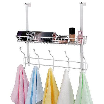 Lifewit Over the Door Hanger 10 Hooks with Mesh Basket Door Organizer Rack White