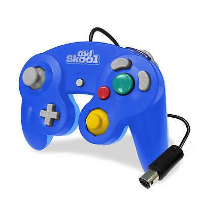 Old Skool Dual Analog Controller for Nintendo Game Cube & Wii - Mega Blue
