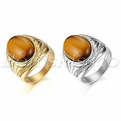Men's Vintage Stainless Steel Oval Tiger Eye Stone Patterned Ring Band Size 7-13 - Eye Rings