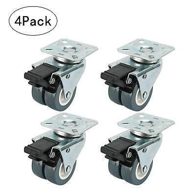 4 X 2 Tpr Dual Wheel Heavy Duty Swivel Plate Locking Casters With Brake 551 Lbs