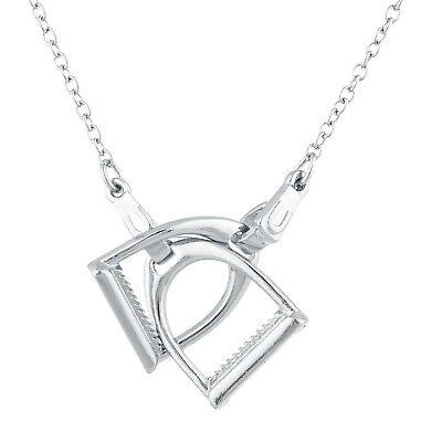 Horse shoe pendantebay 1 lux accessories silver tone horse shoe stirrups interlocking pendant necklace mozeypictures Gallery
