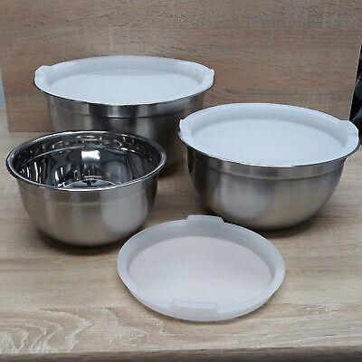 6tlg Edelstahl Schüssel Set Rührschüssel Stapelbar Küche Salat Schale mit Deckel