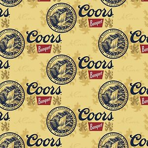 Coors Golden beer Cans 100% cotton Fabric by the yard