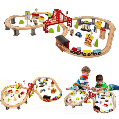 70 Pieces Hand Crafted Wooden Train Set Crossing Railway Tra