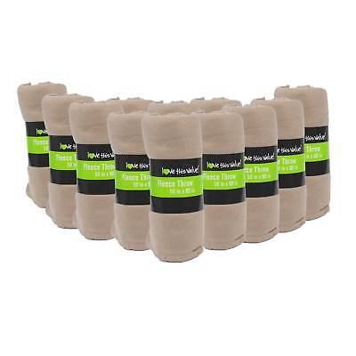 24 Pack Wholesale Soft Fleece Blanket or Throw Blanket - 50 x 60 Inch Tan ()