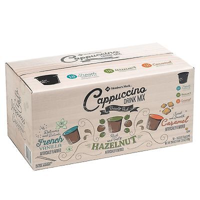 (Members Mark Cappuccino Variety Pack Fresh Aroma 0.53 Oz Cups 54 Ct K Cups Pods)