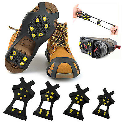 US Snow Ice Crampons Cleats Anti Slip Shoes Covers Studded Boot Traction Spike