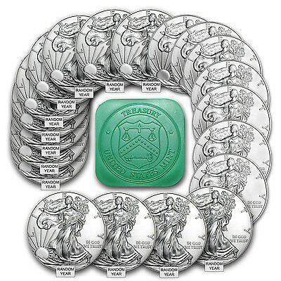 1 oz Silver American Eagle BU Random Year (Lot, Roll, Tube of 20) - SKU #101889