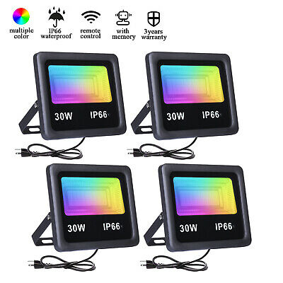 4pack 50w 30w 10w Rgb Led Flood Lights Outdoor Landscape Light Spotlight Lamp