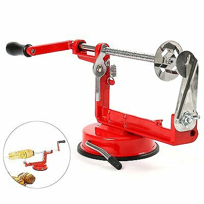 Manual Red Stainless Steel Twisted Potato Apple Slicer Spiral French Fry Cutter