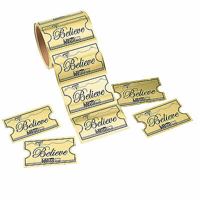1 Roll CHRISTMAS Party Favors GOLDEN TICKET BELIEVE North Pole Train STICKERS - Party Tickets