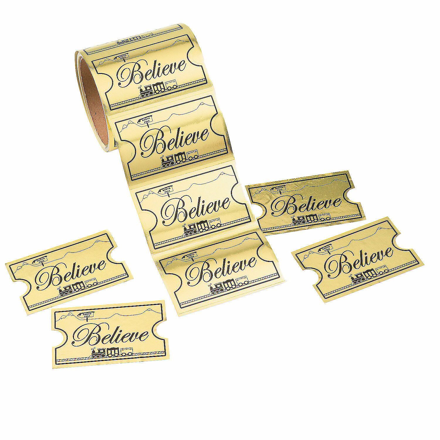 1 Roll CHRISTMAS Party Favors GOLDEN TICKET BELIEVE North Po
