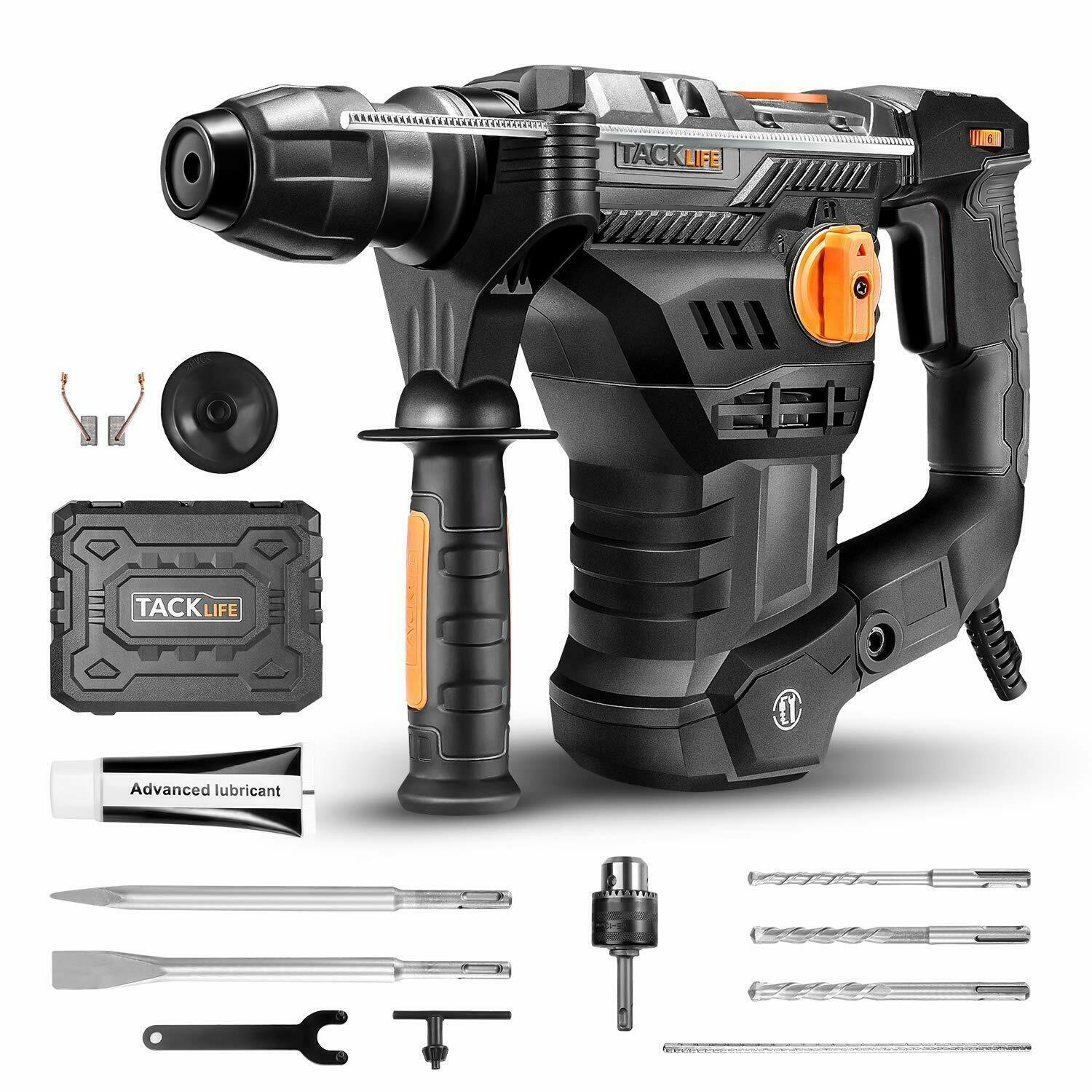 TACKLIFE 1-1/4 Inch SDS-Plus 12.5 Amp Rotary Hammer Drill, 7