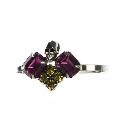 JOOMI LIM Rhodium Triple Crystal & Skull 2-Finger Ring Sz 7 NEW