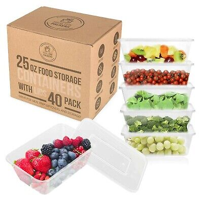 25 oz Food Storage Containers with Lids - Disposable Meal Prep Plastic (40 Pack) 1