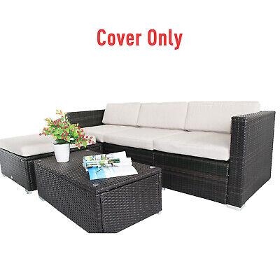 Rattan Furniture Cushion Cover Replacement Set, 7 pcs-Cream Furniture