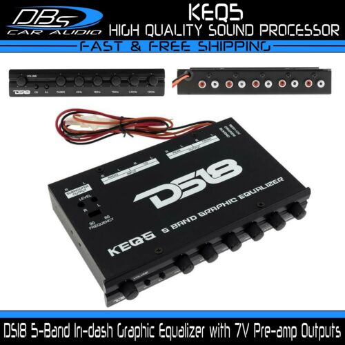 DS18 KEQ5 In-dash 5-Band Equalizer Dual RCA Input Six 7 Volt Rms Pre Amp Outputs