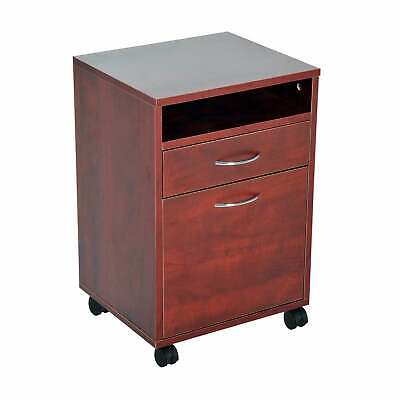 "HomCom 24"" Rolling End Table Mobile Printer Cart Nightstand Brown N/A"