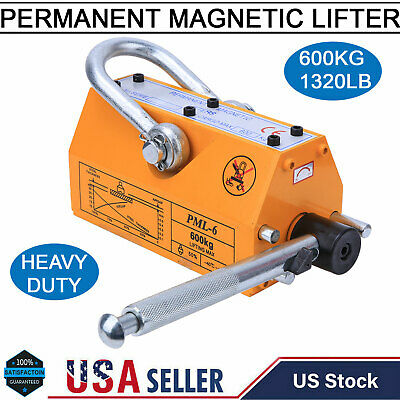 1320lb Steel Permanent Magnetic Lifter Heavy Duty Crane Hoist Lifting Magnet Usa