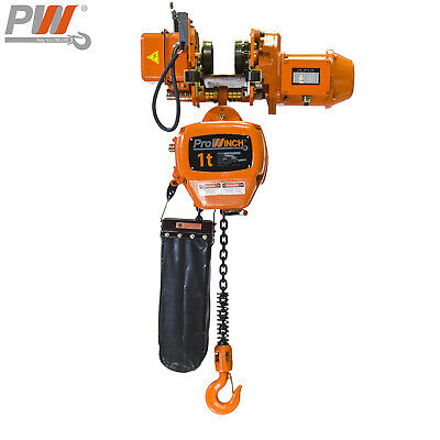Prowinch 2 Speed 1 Ton Electric Chain Hoist Power Trolley 20 Ft. G100 Chain M...