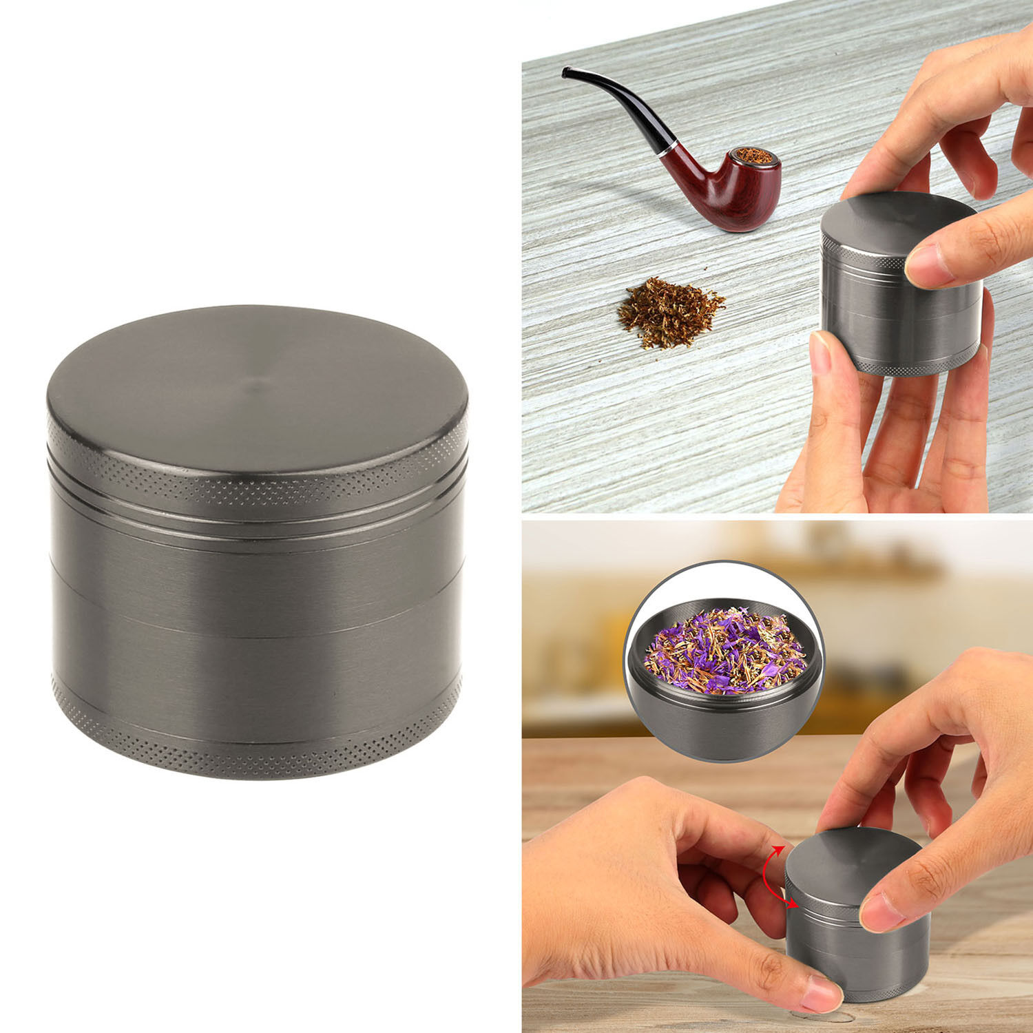 4 Piece Magnetic Tobacco Herb Grinder Spice Aluminum With Scoop Gray
