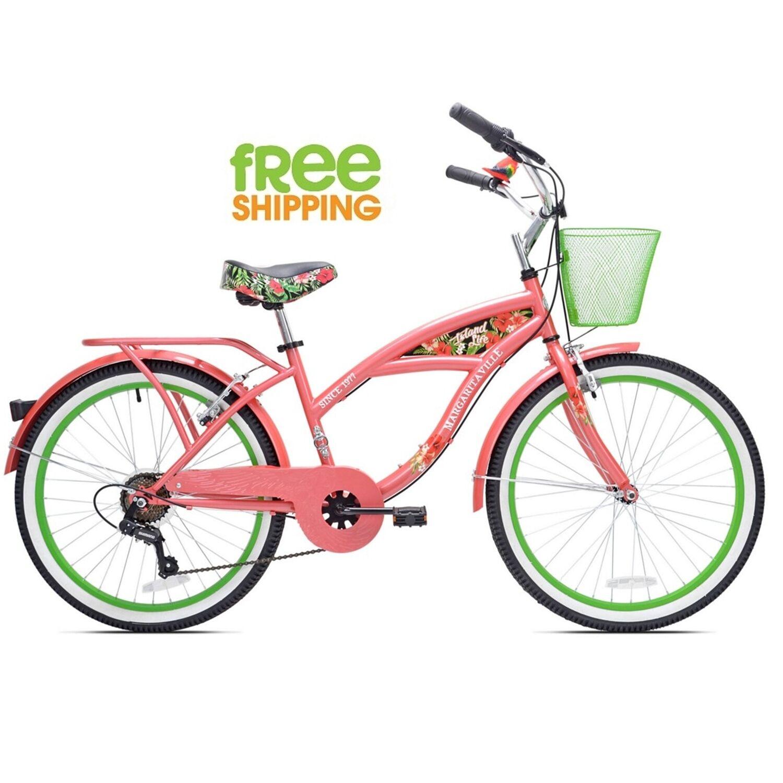 "Cruiser Girls Bicycle 24"" Beach City Comfort Commuter Pink Bike Wire Basket New!"
